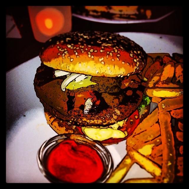 Bernstein Burger (im Comic Style). Sehr lecker