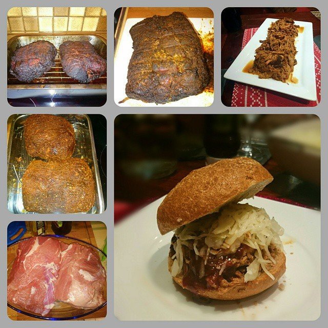 Production of a pulled pork burger