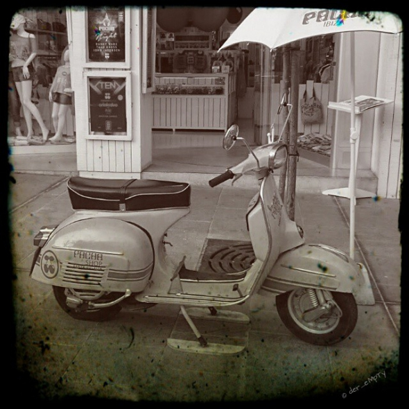 Vespa in Front of the Pacha Merchandise Shop in Santa Eulalia Ibiza